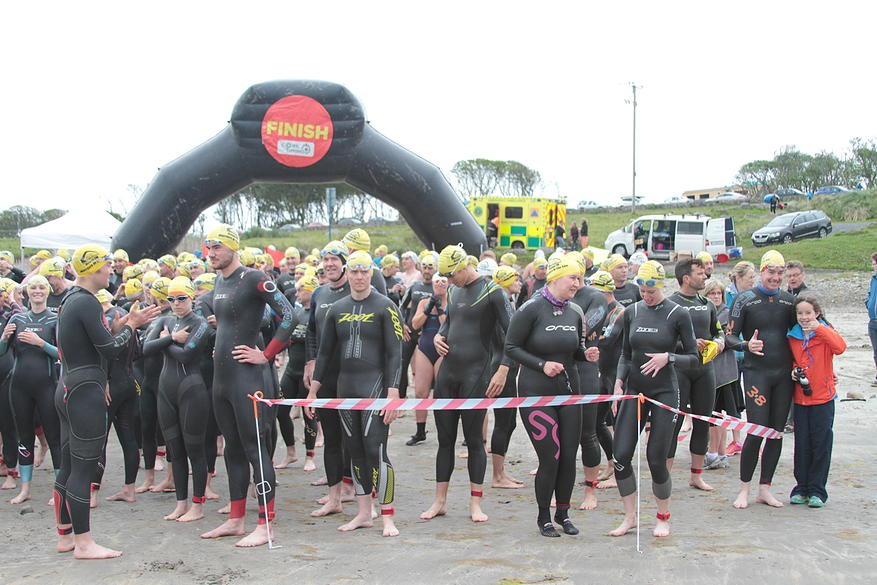 Corralled for the start of the 2015 OceanFM Warrior of the Sea on Mullaghmore Beach. The weather would turn.