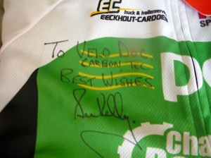 'To VeloDoc, CarbonTec, Best Wishes, Sean Kelly'