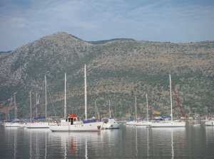 Nydri bay in Lefkada, brimful of sailing yachts despite Greek Debt Crisis